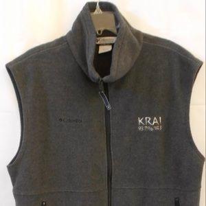 Columbia Gray Fleece Full Zip Front Vest KRAI 93.7